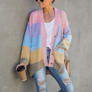 Vici Start living pocketed color block cardigan